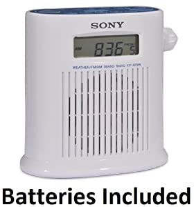 Sony Portable Digital Tuner AM/FM Shower Radio with Weather Band, 20 Station Preset Memory, High Quality Sound, Timer, Digital Clock, Automatic Turn - Off Timer & Convenient Hanging Strap Designed for Shower, Spa or Sauna ** Batteries Included **