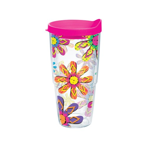 """Tervis """"Flip Flop Neon Wrap"""" Boxed Tumbler With Neon Pink Lid, 24-Ounce"""