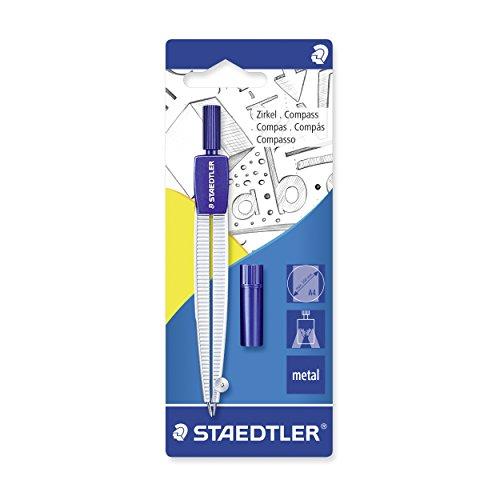 Staedtler 55050BK Compás escolar con caja de minas en blíster, azul/plata