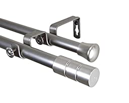 Theo Double Curtain Rod 48-84 inch - Satin Nickel
