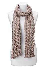 Pleated Striped Scarf with Silk [T01-0952P-S]