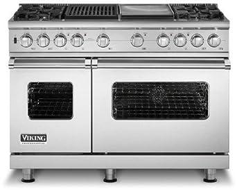 """Viking VDSC5486GSS - Stainless Steel 48""""Custom Sealed Burner Dual Fuel Range - VDSC (48""""wide, six burners 12""""wide griddle/simmer plate)"""