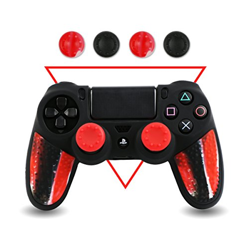 Silicone-PS4-Controller-Skin-BPA-Free-Protector-Cover-Case-for-Sony-PlayStation-4-Controller-with-Matching-Thumb-Grips-2-Sets-Camouflage-Red