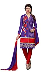 Suchi Fashion Purple & Red Embroidered Cotton Dress Material