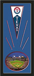 Texas Rangers Wool Felt Mini Pennant & Rangers Ballpark 2009 Photo - Framed With... by Art and More, Davenport, IA