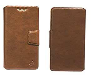 J Cover Kanger Series Leather Pouch Flip Case With Silicon Holder For Intex Aqua Eco Light Brown