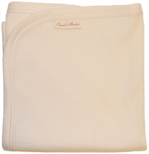Cherub's Blanket Beautiful Newborn Swaddling Blanket in Organic Thermal - MADE IN THE USA - Certified Organic Cotton - 1