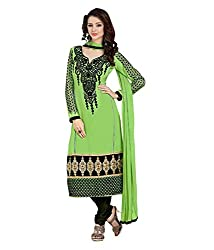 Monalisa Fabrics Women's Unstitched Dress Material (216911002_Green _Free Size)