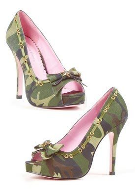 4 inch Canvas Camo Peep Toe Pump Women's Size Shoe With 1 inch Platform, and Bronze Star Ornament