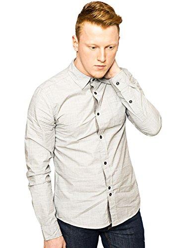 Bellfield -  Camicia Casual  - Camicia - Basic - Classico  - Maniche lunghe  - Uomo grigio Large
