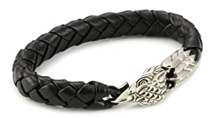 King Baby Men's Leather with Sterling Silver Eagle Clasp Bracelet