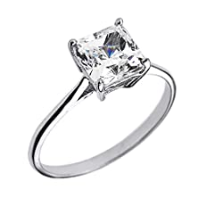buy 14K White Gold Cz Princess Cut Solitaire Engagement Ring(Size 5.5)