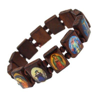 Urban Male Brown Wooden Bead Religious Icon Mens Bracelet