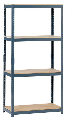 "Edsal HR153060 4-Tier Steel Storage Shelving, 1000lbs Capacity, 30"" Width x 60"" Height x 15"" Depth"