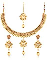 I Jewels 24K Gold Plated Traditional Jewellery Set With Maang Tikka For Women MS123