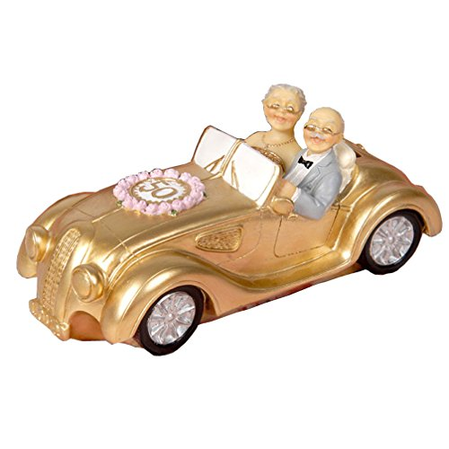 50th Anniversary Gift Polyresin Statues - Wedding Car Elderly Couple Figurines Collectibles for Parents (Commemorative Coins Bank)
