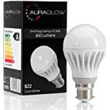AURAGLOW 8w LED B22 Bayonet Light Bulb, Daylight Cool White, 60w EQV
