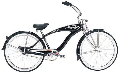 Micargi GTS Beach Cruiser Bike, Black Falcon, 26-Inch