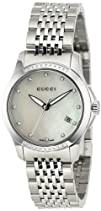 Gucci Womens YA126510 G-Timeless Diamond MOP White Dial Watch