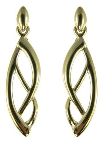 9ct White Gold Ladies' Leaf Effect Drop Earrings