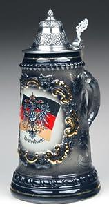 Germany (Deutschland) Flag and Coat Of Arms Authentic German Beer Stein Black from King Werke Germany (aka King Werks / King-Works)