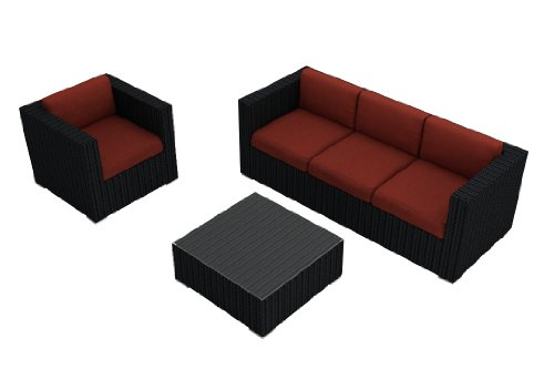 Harmonia Living Urbana 3 Piece Rattan Patio Sofa Set with Red Sunbrella Cushions (SKU HL-URBN-3SS-HN) image