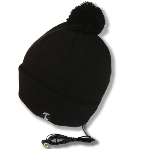 Tooks Pomador Cuffed Headphone Beanie W/ Pom, Featuring Built-In Removable Headphones - Color: Black, Unique Gift Idea