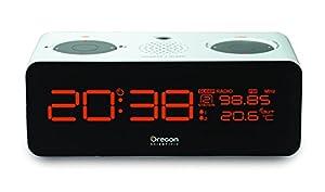 Oregon RRM320P Radio réveil avec projecteur d'horaire Tuner FM-Blanc