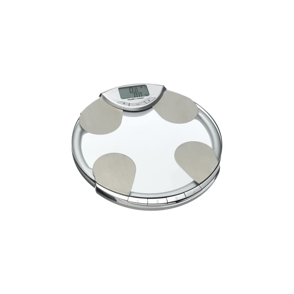 Health o Meter BFM582 63 Body Fat, Percent Hydration & Weight Tracking Scale, Glass with Chrome Accents