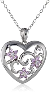 Sterling Silver Pink Sapphire and Diamond Heart Pendant Necklace (0.03 Cttw, G-H Color, I2-I3 Clarity), 18""