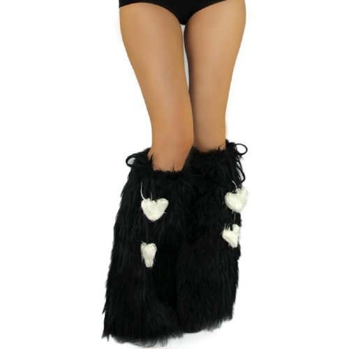 Iheartraves Solid Black Fluffy Leg Warmers - Rave Gogo Fluffies