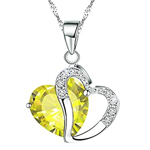 KATGI Fashion White Gold Plated Diamond Accent Austrian Crystals Heart Shape Pendant Necklace (Apple Green)