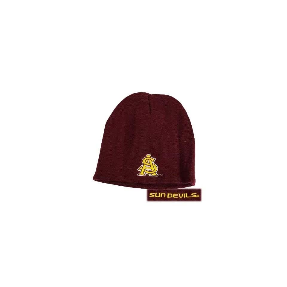 03fa343b42d NCAA BEANIE KNIT HAT CUFFLESS ARIZONA SUN DEVILS MAROON on PopScreen