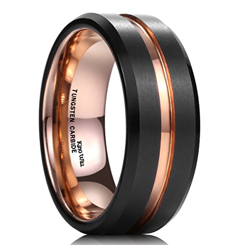 King Will Mens 8mm Black Matte Finish Tungsten Carbide Ring 18K Rose Gold Plated Beveled Edge Wedding Band(11) (Ring For Men compare prices)