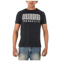 Chennai Gaga Men's Round Neck Cotton T-shirt Barcode 112-3-808-black-XL