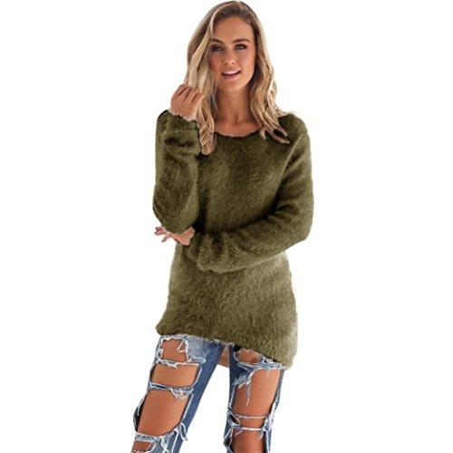 Donna sportiva Solid maniche lunghe jumper Maglioni camicetta (M, Army Green)