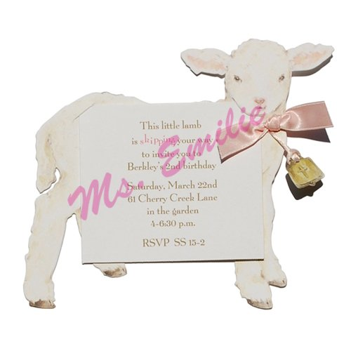 Lamb Die-Cut Card, Pack Of 10 front-872940