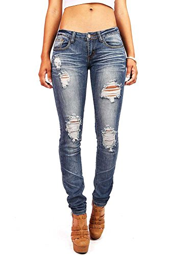 Machine Women's Juniors Low Rise Distressed Skinny Jeans, Faded Denim,1 (Junior Jeans Size 1 compare prices)