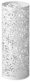 Tall Metal Umbrella StandVase 17  White Floral Cutout Design