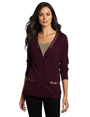 Pendleton Women's Trimmed Cardigan Sweater, Aubergine, X-Small