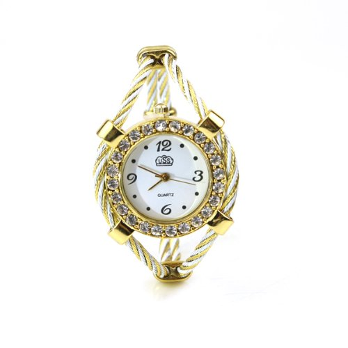 BestOfferBuy Women Gold Tone Rhinestone Twisted Band Bracelet Wrist Watch White