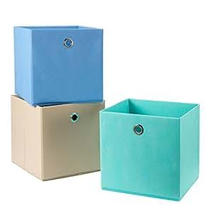 Storagemaniac 3 pack foldable fabric storage for Teal bathroom bin