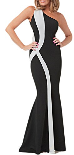 envy Colorblock One Shoulder Mermaid Long Evening Dress (XL, Black/White) 70177