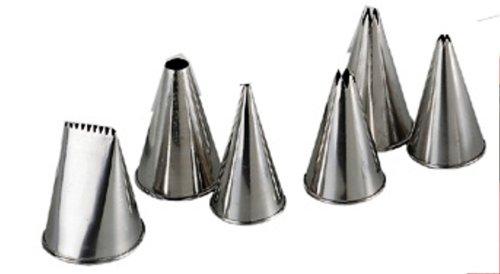 De Buyer 2114.00N Set of 6 Stainless Steel Nozzles for Pastry Bags de buyer ковш аффинити 1 8 л 16 см 3706 16 00023455 de buyer