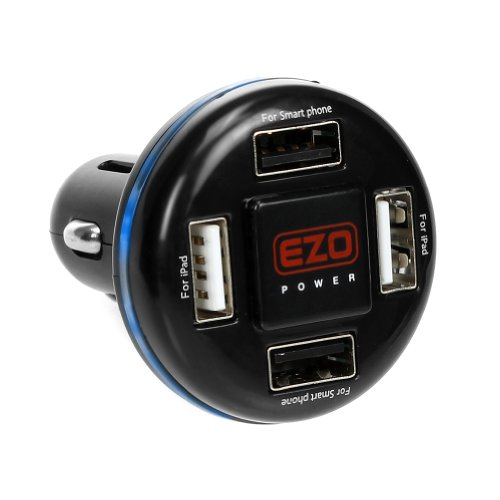 Ezopower 4-Port 4.8A Compact High Output Led Usb Car Charger Adapter For Iphone 6 Plus/ 6 5S 5C 5 4 4S Ipad Mini, Samsung Galaxy Note Edge/ 4, Galaxy S5 Active/ Mini, Galaxy S5 Sport, Galaxy S5, Galaxy S4, Htc One M8, One M8 For Windows, Desire 610, One R