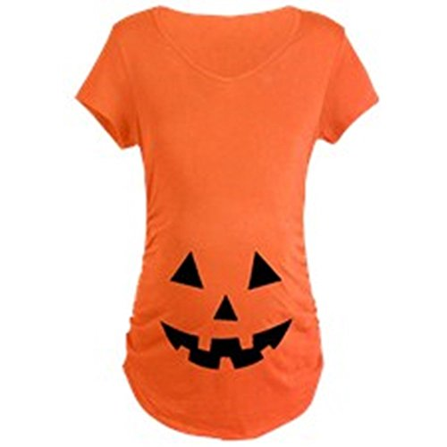 Jack-O-Lantern Halloween Maternity Tee Orange