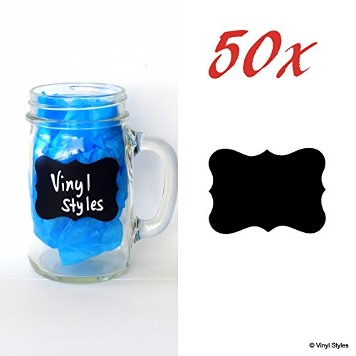 "50 Chalkboard Labels By Vinyl Styles - 2.5""W X 1.75""H Fancy Chic Rectangle Beta - Reusable Chalkboard Blackboard Labels - Wedding Mason Jar Sticker - Kitchen Organization Pantry Decal Tag Lot"