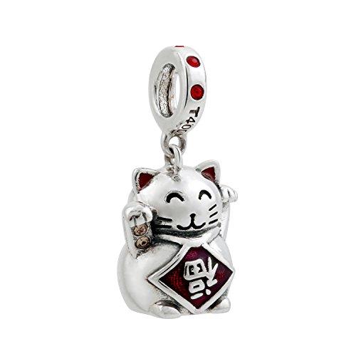 """T400Jewelers """"Lucky Cat Charm in argento Sterling 925con cristalli Swarovski, per braccialetti Pandora"""