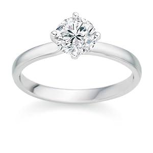 Diamond Manufacturers - Bague de fiancailles avec diamant Rond Femme - Or blanc 750/1000 (18 cts) - Diamant 0.25 ct