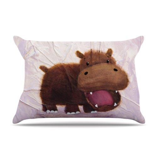 Kess InHouse Rachel Kokko The Happy Hippo 30 by 20-Inch Pillow Case, Standard